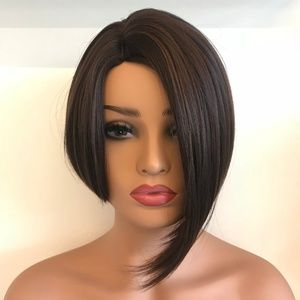 "Her Wig Closet Accessories - 12"" Side Part Light Brown Bob Cut Wig 